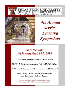 Save the date 4th Annual Service Learning Symposium