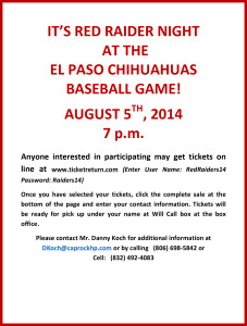 Microsoft Word - RED RAIDER DAY AT CHIHUAHUA GAME AUG 5, 2014.do