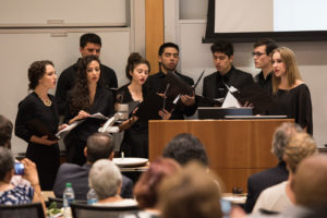 "The Paul L. Foster School of Medicine student choir performs ""Ubi Caritas"" in remembrance of Willed Body Program donors."