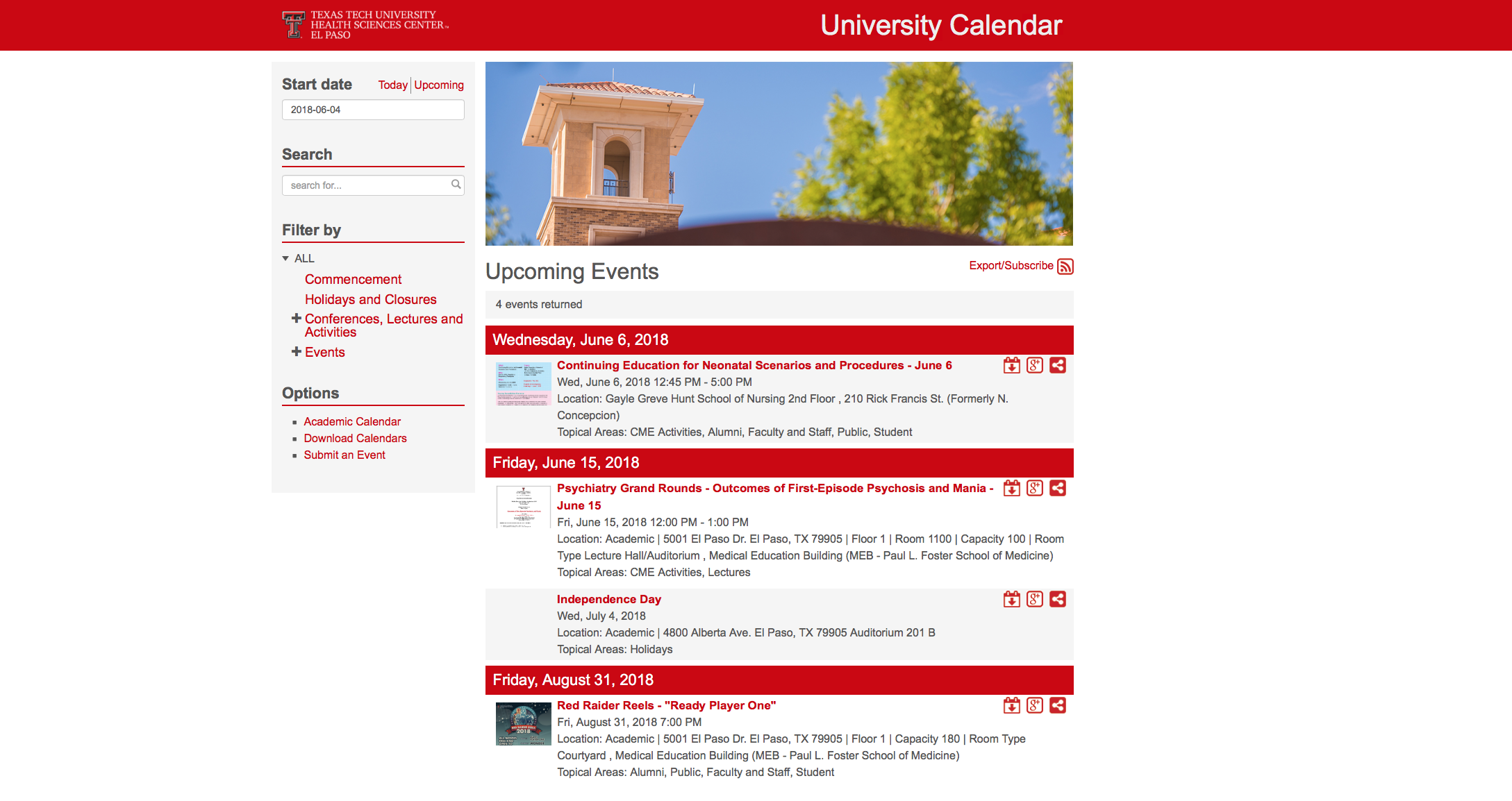 New University Calendar Now Available