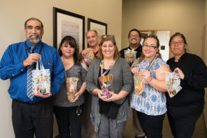 TTUHSC El Paso Staff Senate members prepared non-candy Halloween gift bags full of toys, school supplies and other items for children receiving treatment at El Paso Children's Hospital.