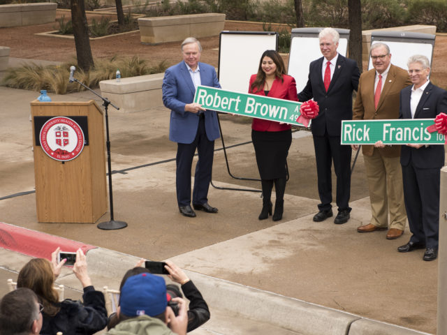Texas Tech University Health Sciences Center El Paso and the City of El Paso honored Rick Francis and Robert Brown on Friday morning during a ceremony on the university corner that bears their names.