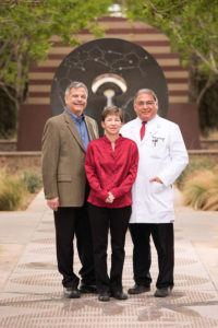 From left: Jim and Julie Cardwell; Salvador Cruz-Flores, M.D., professor and chair of TTUHSC El Paso's department of neurology.