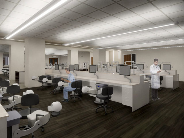 An artist's rendering of the Dental Learning Center within the Woody L. Hunt School of Dental Medicine.