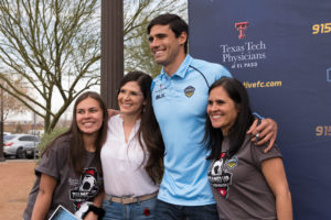 El Paso Locomotive forward Omar Salgado posed for photos with fans at the Employee and Family Appreciation Day April 1.