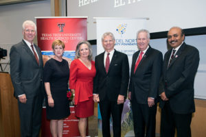 From left: TTUHSC El Paso President and Foster School of Medicine Dean Richard Lange, M.D., M.B.A; Gayle Greve Hunt School of Nursing Dean Stephanie L. Woods, Ph.D., R.N.; Ginger Francis and Rick Francis; Woody L. Hunt School of Dental Medicine Dean Richard Black, D.D.S., M.S.; Graduate School of Biomedical Sciences Dean Rajkumar Lakshmanaswamy, Ph.D.