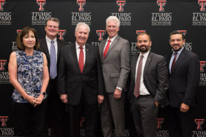 Members of El Paso's legislative delegation attended a press conference at TTUHSC El Paso on June 17 to discuss the state's $20 million appropriation to establish the Woody L. Hunt School of Dental Medicine. From left: state Rep. Evelina Ortega, TTU System Chancellor Tedd L. Mitchell, M.D., Hunt School of Dental Medicine Dean Richard Black, D.D.S., M.S., TTUHSC El Paso President Richard Lange, M.D., M.B.A., state Rep. Joe Moody, and state Rep. Cesar Blanco.