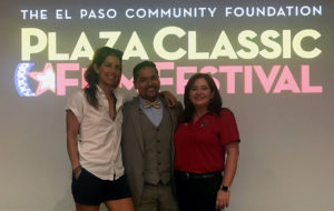 Sponsored surfer Monica Riehl, left, and licensed Jefferson High School athletic trainer Maria Tuck, right, joined Gerardo Vasquez, M.D., of Texas Tech Physicians of El Paso for the panel discussion.