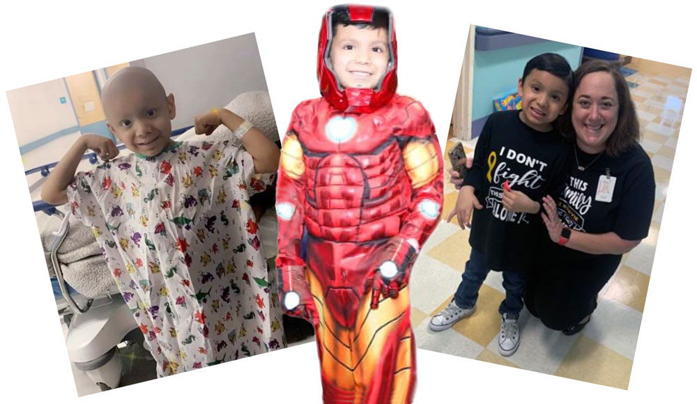 Stevie Lerma adopted the persona of Iron Man as he faced a daunting battle against cancer. Photo collage by Leonard Martinez, TTUHSC El Paso.