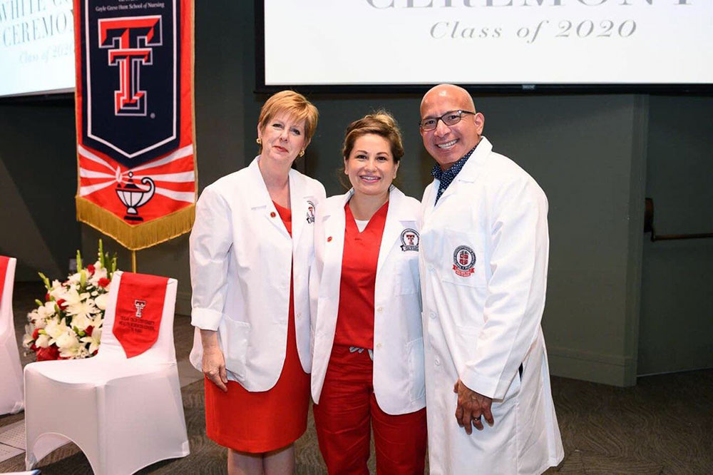 Jenny Moya, center, with Hunt School of Nursing Dean Stephanie Woods, Ph.D., R.N., and Assistant Dean, R.N. to B.S.N. Track, Manny Santa Cruz, D.N.P., R.N., M.B.A.