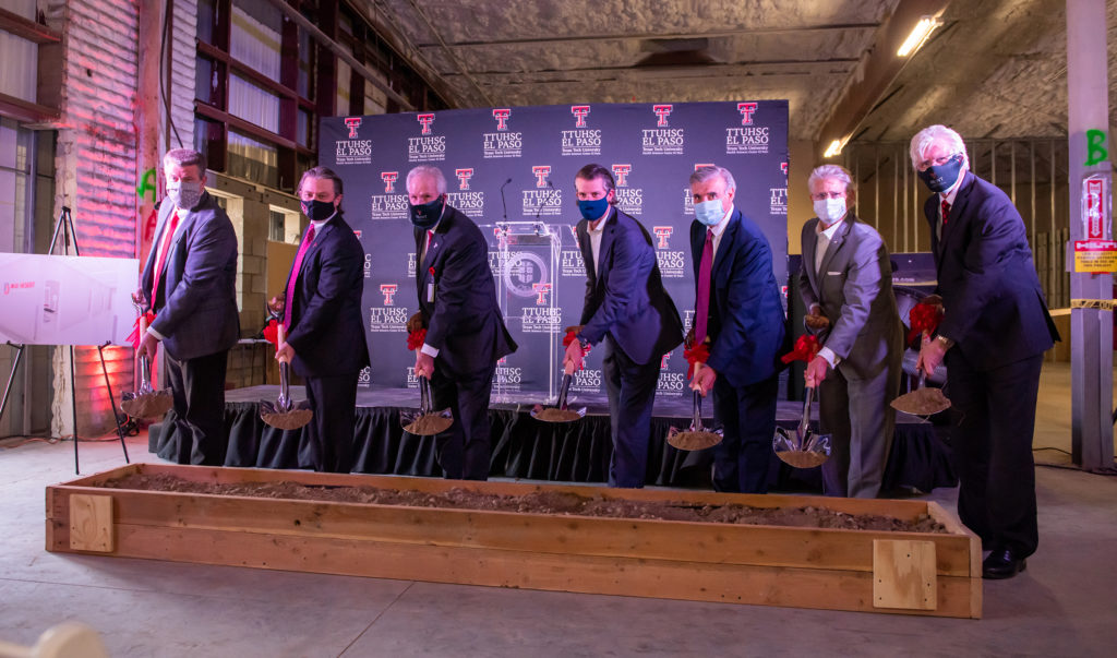 Officials from TTUHSC El Paso, the Texas Tech University System and High Desert Oral and Facial Surgery participated in the ceremonial groundbreaking of the Texas Tech Dental Oral Health Clinic.