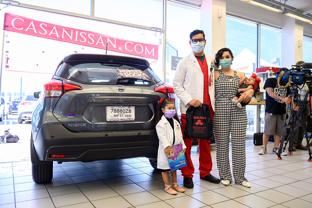 Emmanuel Muniz and his family were given the keys to a 2020 Nissan Kicks SUV during a special event at Casa Nissan in El Paso.