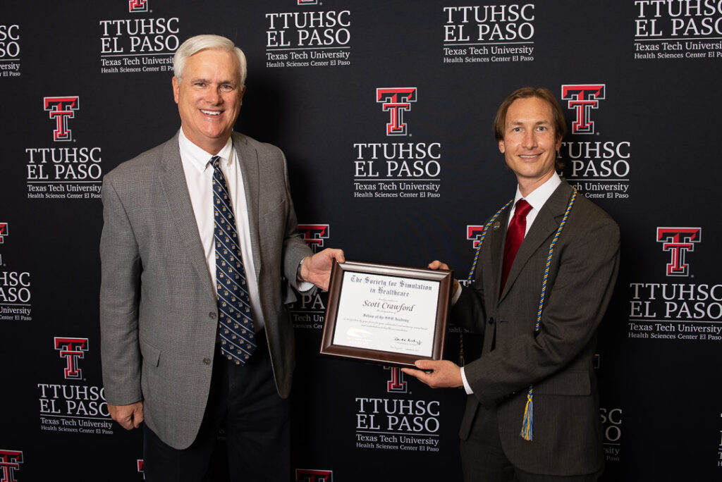 "Texas Tech University Health Sciences Center El Paso, in conjunction with the Society for Simulation in Healthcare (SSH), is pleased to announce Scott Crawford, M.D., FACEP, CHSOS, as a Fellow of the Society for Simulation in Healthcare Academy (FSSH). ""This global group of professional health care simulationists are recognized for their sustained contributions and impact on the field of health care simulation and to SSH,"" said Dr. Crawford, director of the Training and Educational Center for Healthcare Simulation (TECHS) at TTUHSC El Paso. ""Their work, dedication and passion have helped shape the current art, science and practice of health care simulation and are helping to shape its future."" Health care simulation education serves as a bridge between classroom learning and real-life clinical experience. In the TECHS center, for example, medical and nursing students practice techniques with high-tech computerized manikins that perform dozens of realistic human functions. The fellowship is an acknowledgement and recognition of the expertise and service that individuals have devoted to health care simulation during their career. Individuals in this group are society and business leaders in simulation who have given their time to the development and advancement of simulation in their programs and on a larger level. ""Being recognized as a Fellow of the Society for Simulation in Healthcare Academy is a great honor, but it speaks about more than just my own achievements in health care simulation,"" said Dr. Crawford. ""It's also a reflection of TTUHSC El Paso's support in fostering a program and team of individuals to demonstrate excellence in the delivery of education and development of best practices in simulation that lead to improved patient safety and outcomes."" To date, 91 individuals from 12 countries have been awarded this prestigious recognition. ""Fellows of the SSH Academy are professionals whose expertise in and dedication to simulation is incredible,"" said Ronald Levy, M.D., DABA, FSSH, FASA, chair of the SSH Academy Board of Governance. ""The commitment of the individuals in this group to quality simulation and an increasing recognition of simulation as an education and research tool is indeed impressive."" Fellows of the SSH Academy are selected through a rigorous peer-review process that evaluates the summative work and contributions in both health care simulation and to SSH. To achieve this designation indicates the very high level of contributions and impact made by the nominee. The designation as a Fellow of the SSH Academy is prestigious and important to the health care simulation community as one of the fastest growing fields in health care education. The TECHS center at TTUHSC El Paso was created in February 2019 as a program expansion of the Hunt School of Nursing simulation program, the Center for Advanced Teaching and Assessment in Clinical Simulation (ATACS), and the Regional Simulation and Training Center. TECHS has over 24,000 square feet of simulation laboratory space to provide experiential learning through task training, high-fidelity simulation experiences, virtual reality simulators and standardized patient experiences. TECHS continues to be accredited by the Society for Simulation in Healthcare, a distinction first awarded to ATACS in 2012 under the direction of Hoi Ho, M.D., and expanded in 2017 under the direction of Sanja Kupesic, M.D., Ph.D., to include accreditation in Assessment, Research, and Teaching/Education. About SSH The largest health care simulation organization in the world, the Society for Simulation in Healthcare (SSH) is a 501(c)3 organization with more than 4,300 members from more than 60 countries. SSH was established in 2004. SSH's purpose is to serve a global community of practice enhancing the quality of health care. The mission of SSH is to serve its members by fostering education, professional development, and the advancement of research and innovation; promote the profession of health care simulation through standards and ethics; and champion health care simulation through advocating sharing, facilitating, and collaborating."