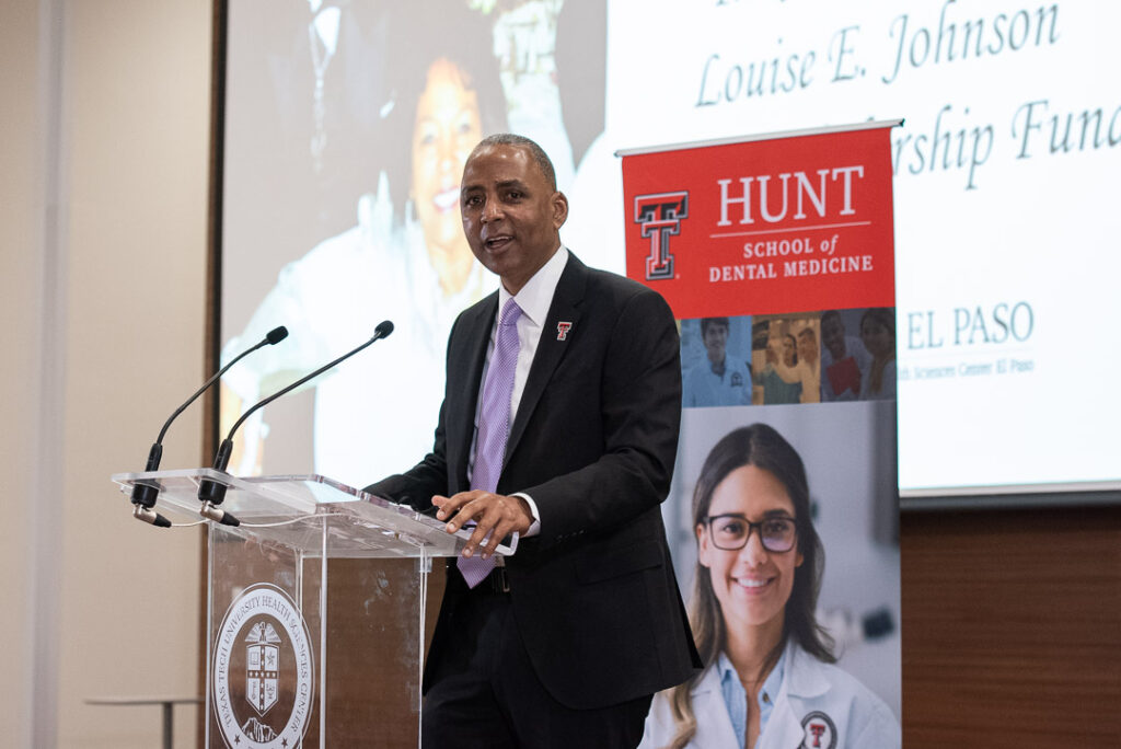 Renard U. Johnson, owner of Management and Engineering Technologies International Inc. (METI), spoke at the event announcing a scholarship fund named after his parents.