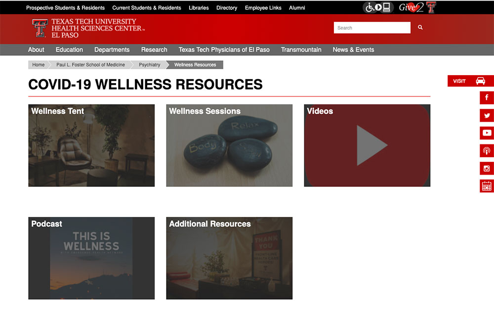 TTUHSC El Paso Offers Online Wellness Resources for Front-Line Health Care Professionals Fighting the COVID-19 Pandemic